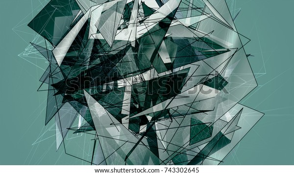 Abstract Aquamarine Polygonal. Beautiful Illustration.