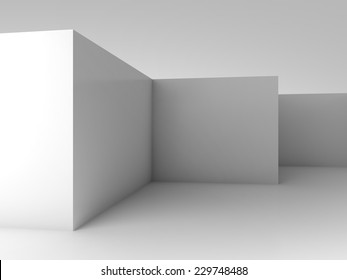 Abstract architectural 3d background, white empty room interior with corners