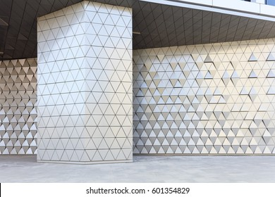 Abstract architectural 3d illustration of blue triangles