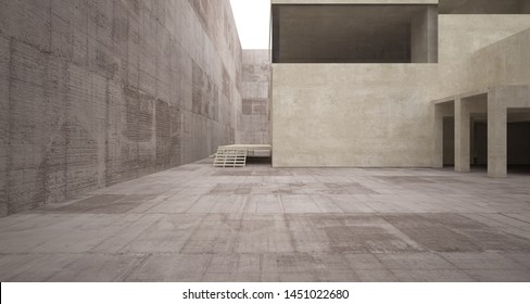 Abstract architectural brown and beige concrete interior of a minimalist house with white background . 3D illustration and rendering.