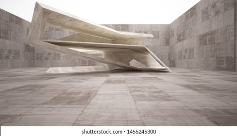 Abstract architectural brown and beige concrete interior of a minimalist house. 3D illustration and rendering