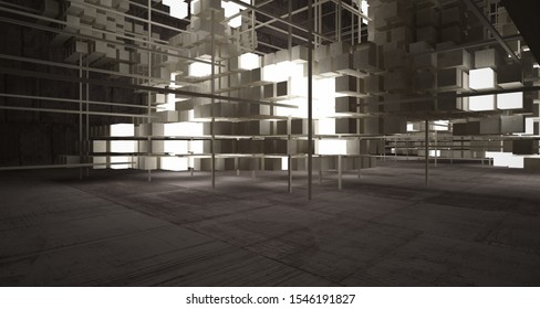 Abstract architectural concrete brown interior  from an array of beige cubes  with neon lighting. 3D illustration and rendering.