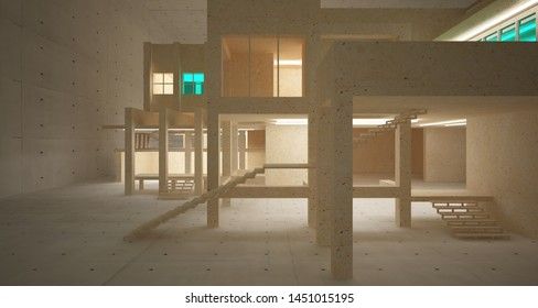 Abstract architectural concrete, coquina and glass interior of a minimalist house with neon lighting. 3D illustration and rendering.
