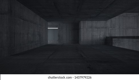 Abstract architectural concrete interior of a minimalist house with white background . 3D illustration and rendering.