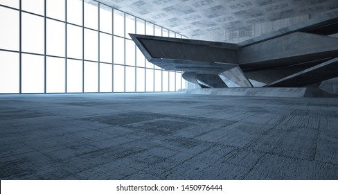 Abstract architectural concrete interior of a minimalist house. 3D illustration and rendering.