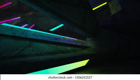 Abstract architectural concrete interior of a minimalist house with color gradient neon lighting. 3D illustration and rendering.