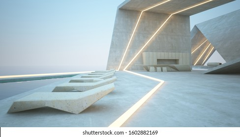 Abstract architectural concrete interior of a modern villa on the sea with swimming pool and neon lighting. 3D illustration and rendering.