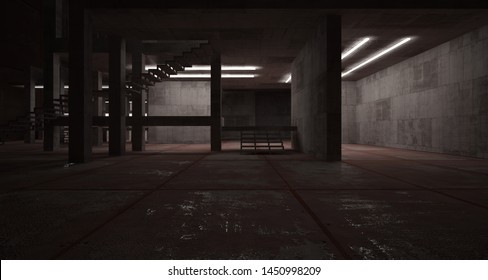 Abstract architectural concrete  and rusted metal interior of a minimalist house with neon lighting. 3D illustration and rendering.