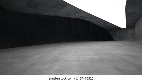 Abstract architectural concrete smooth interior of a minimalist house with neon lighting. 3D illustration and rendering.