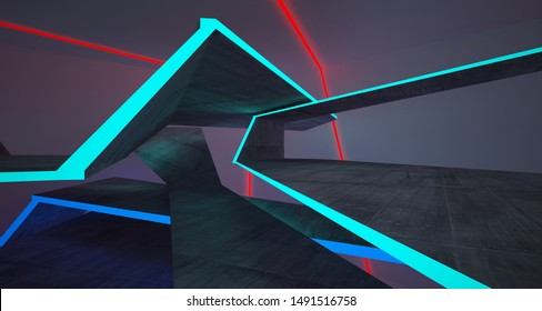 Abstract architectural concrete and white interior of a minimalist house with color gradient neon lighting. 3D illustration and rendering.