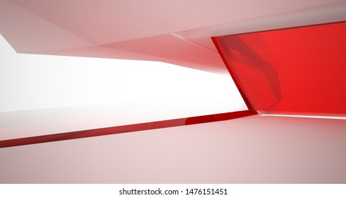 Abstract architectural glass red color interior of a minimalist house with large windows.. 3D illustration and rendering.