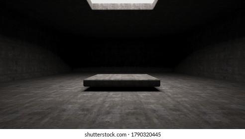 Abstrakter architektonischer minimalistischer Hintergrund. Zeitgenössischer Showroom. Moderner Betonausstellungsstand. Leere Galerie. Hintergrundbeleuchtung. 3D-Illustration und Rendering.