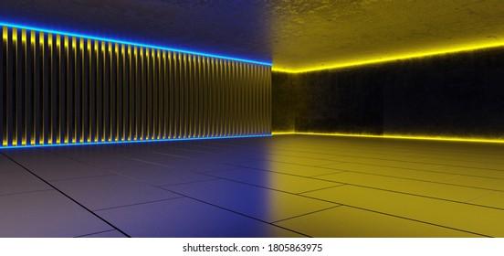 Abstrakter architektonischer minimalistischer Hintergrund. Zeitgenössischer Showroom. Moderner Betonausstellungstunnel. Leere Galerie. Futuristische Raum-Sci-fi Neon-Hintergrundbeleuchtung. 3D-Illustration und Rendering.