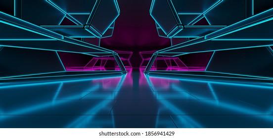 Abstrakter architektonischer minimalistischer Hintergrund. Lasershow im ultravioletten Spektrum. Moderner Impulstunnel. Futuristische Raum sci-fi Rahmen neon Hintergrundbeleuchtung. 3D-Illustration und Rendering.