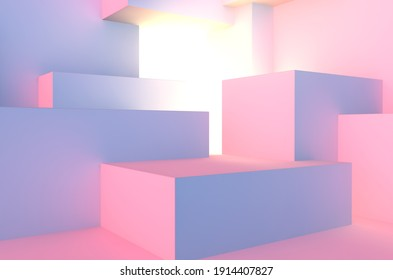 Abstract architectural vaporwave background with cube construction in pink and blue lights stage and light beam inside