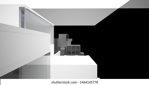 Abstract architectural white and black gloss interior of a minimalist house with large windows.. 3D illustration and rendering.