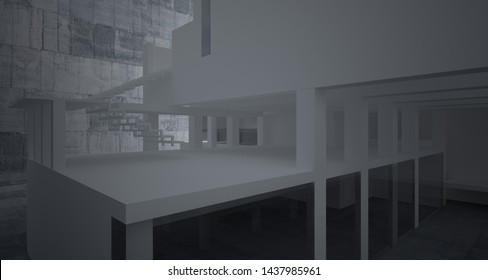 Abstract architectural white interior of a minimalist house with concrete background . 3D illustration and rendering.