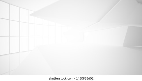 Abstract architectural white interior of a minimalist house with large windows.. 3D illustration and rendering.