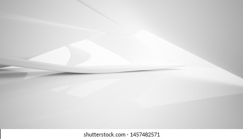 Abstract architectural white smooth interior of a minimalist house with large windows.. 3D illustration and rendering.