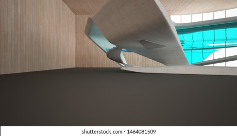 Abstract architectural wood and glass smooth interior of a minimalist house. 3D illustration and rendering.