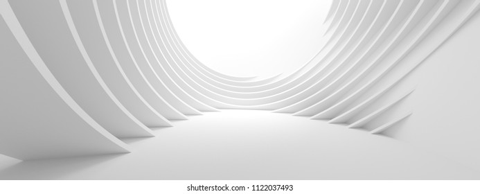 Abstract Architecture Background. 3d Illustration of White Circular Building. Modern Geometric Wallpaper. Futuristic Technology Design
