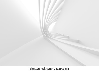 Abstract Architecture Background. 3d Illustration of White Circular Building. Creative Engineering Concept