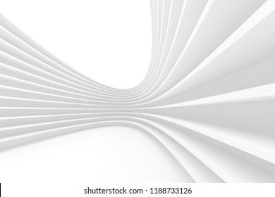Abstract Architecture Background. 3d Rendering of White Circularl Building. Creative Engineering Concept