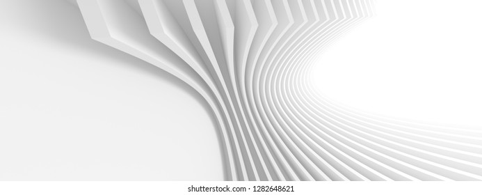 Abstract Architecture Background. 3d Rendering of White Circular Building. Creative Engineering Concept