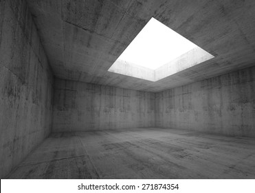 Abstract architecture background, empty dark concrete room interior with white opening in ceiling, 3d illustration