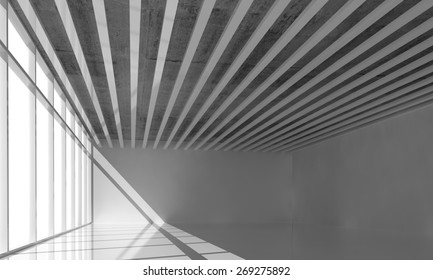 Abstract architecture background, empty interior with ceiling decoration, bright windows and gray walls, 3d illustration