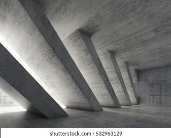 Abstract architecture background, empty rough concrete interior with diagonal columns. 3d illustration