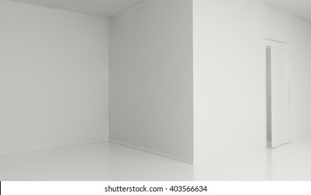 Abstract architecture background. Empty white room interior 3d illustration