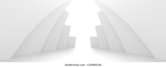 Abstract Architecture Background. Minimal Graphic Design. White Geometric Wallpaper. 3d Rendering