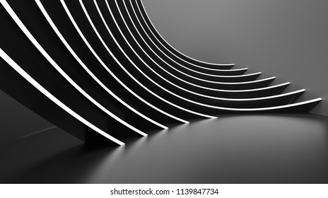 Abstract Architecture Background. Minimal Graphic Design. Black Geometric Wallpaper. 3d Rendering