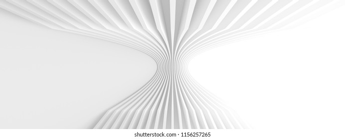 Abstract Architecture Background. Minimal Graphic Design. White Geometric Wallpaper, 3d Illustration