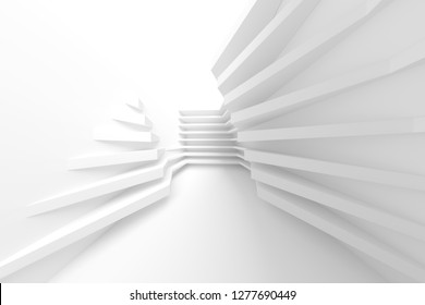 Abstract Architecture Background. Minimal Graphic Design. White Geometric Wallpaper. 3d Illustration