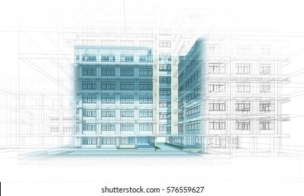 Abstract Architecture background. Perspective 3d Wireframe of building