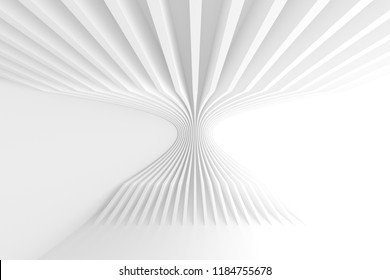 Abstract Architecture Background. White Circular Building. Geometric Graphic Design. 3d Rendering