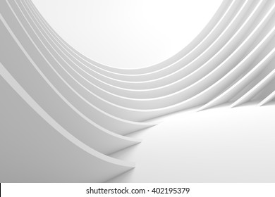 Abstract Architecture Background. White Circular Building. Modern Architectural Design. White Building Concept