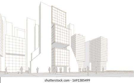 abstract architecture city geometric background 3d illustration