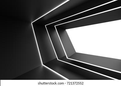 Abstract Architecture Design. Black Futuristic Interior Background. Minimal Building Construction. 3d Rendering