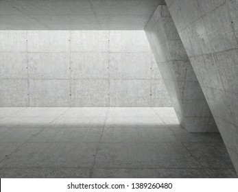 Abstract architecture interior background, empty concrete room with lighting in ceiling, 3d illustration - Illustration