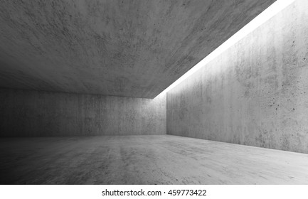 Abstract architecture interior background, empty concrete room with lighting in ceiling, 3d illustration