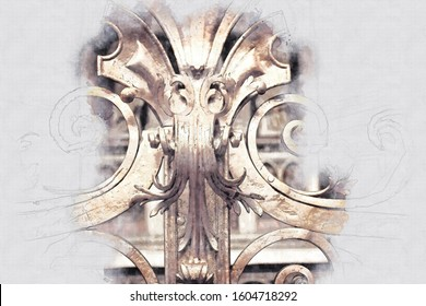 abstract architecture sketch style image of vintage ornament elements, antique gold floral designs