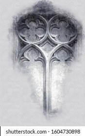 abstract architecture sketch style image of Gothic part of the window made from stone