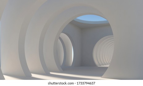 Abstract Architecture White Background. 3d Render Illustration