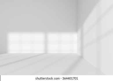 Abstract architecture white room interior: empty white room corner with white walls, white floor, white ceiling with sun light from window, without any textures, 3d illustration