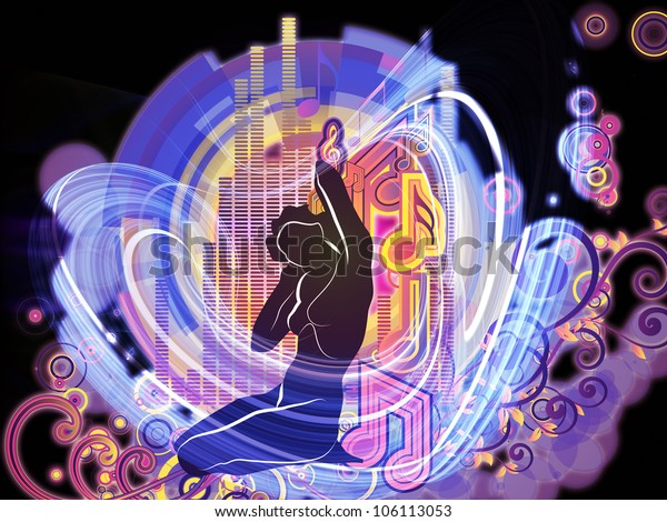 Abstract arrangement of girl silhouette, notes, lights and abstract design elements suitable as background for projects on music, song, performance and dance