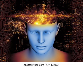 Abstract arrangement of human head and symbolic elements suitable as background for projects on human mind, consciousness, imagination, science and creativity