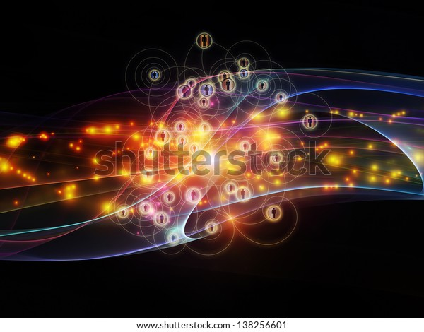 Abstract arrangement of lights, human icons and fractal design elements suitable as background for projects on networks, technology and motion